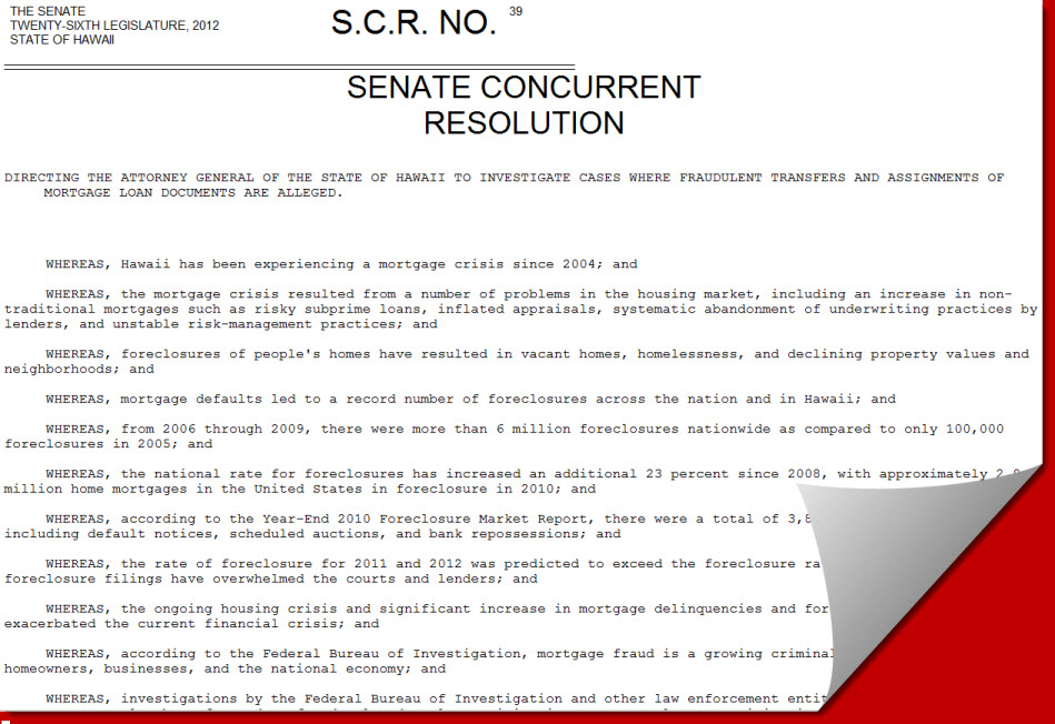 Hawaii Senate Resolution Directing The Attorney General To