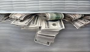 money in between mattress