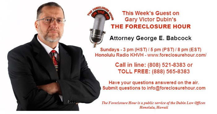 FORECLOSURE HOUR George Babcock2